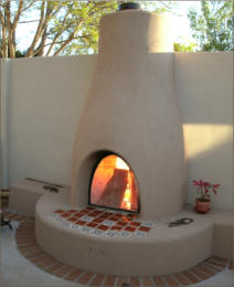Outdoor Flatwall Orno Kiva Fireplace Kit