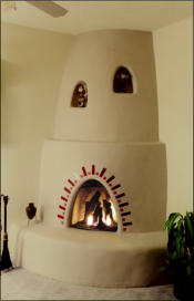 Santa Fe Kiva Fireplace Kit with Nichos and Tile